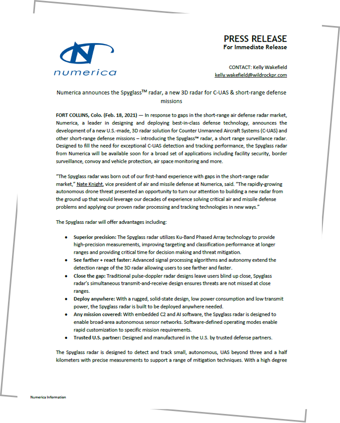 Numerica Spyglass Radar Press Release