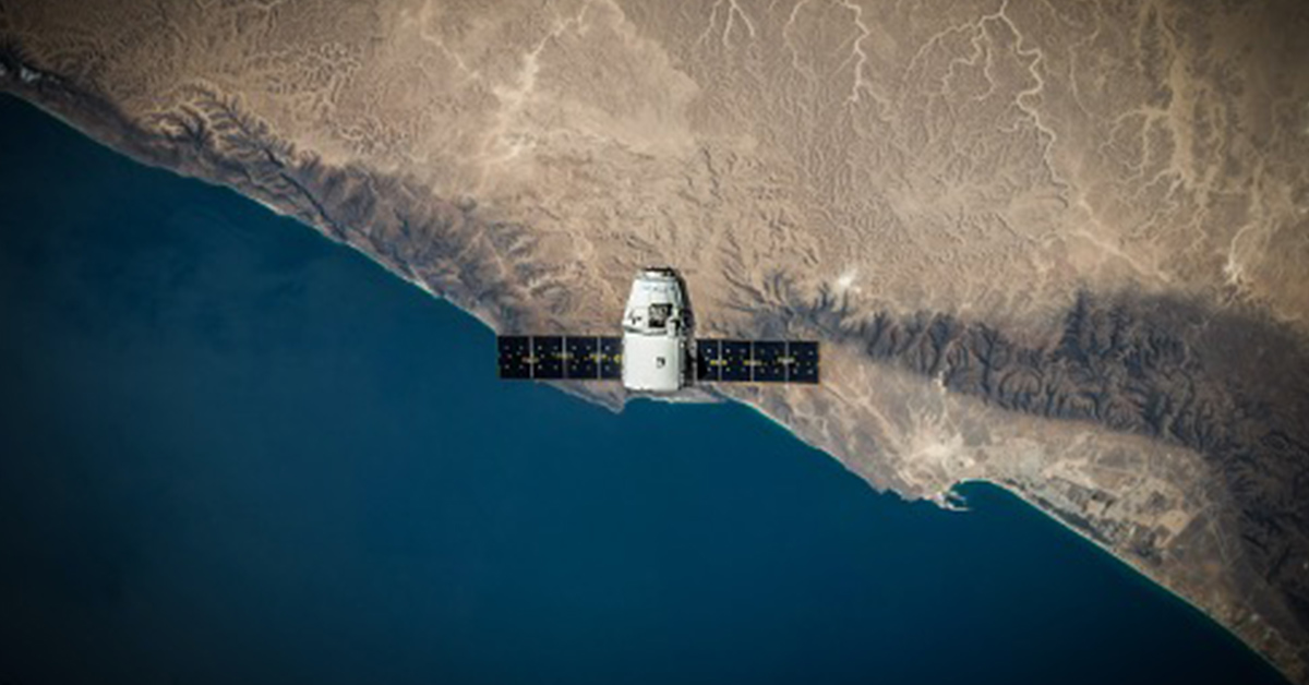 A satellite in space at low Earth orbit